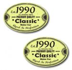 PAIR Distressed Aged Established 1990 Aged To Perfection Oval Design Vinyl Car Sticker 70x45mm Each